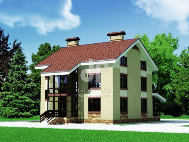 Проект пенобетонного дома C-445-1P