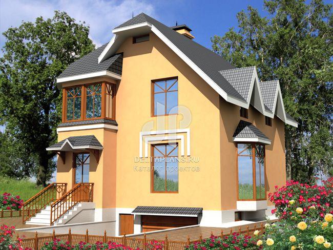 Дом с цоколем и окнами